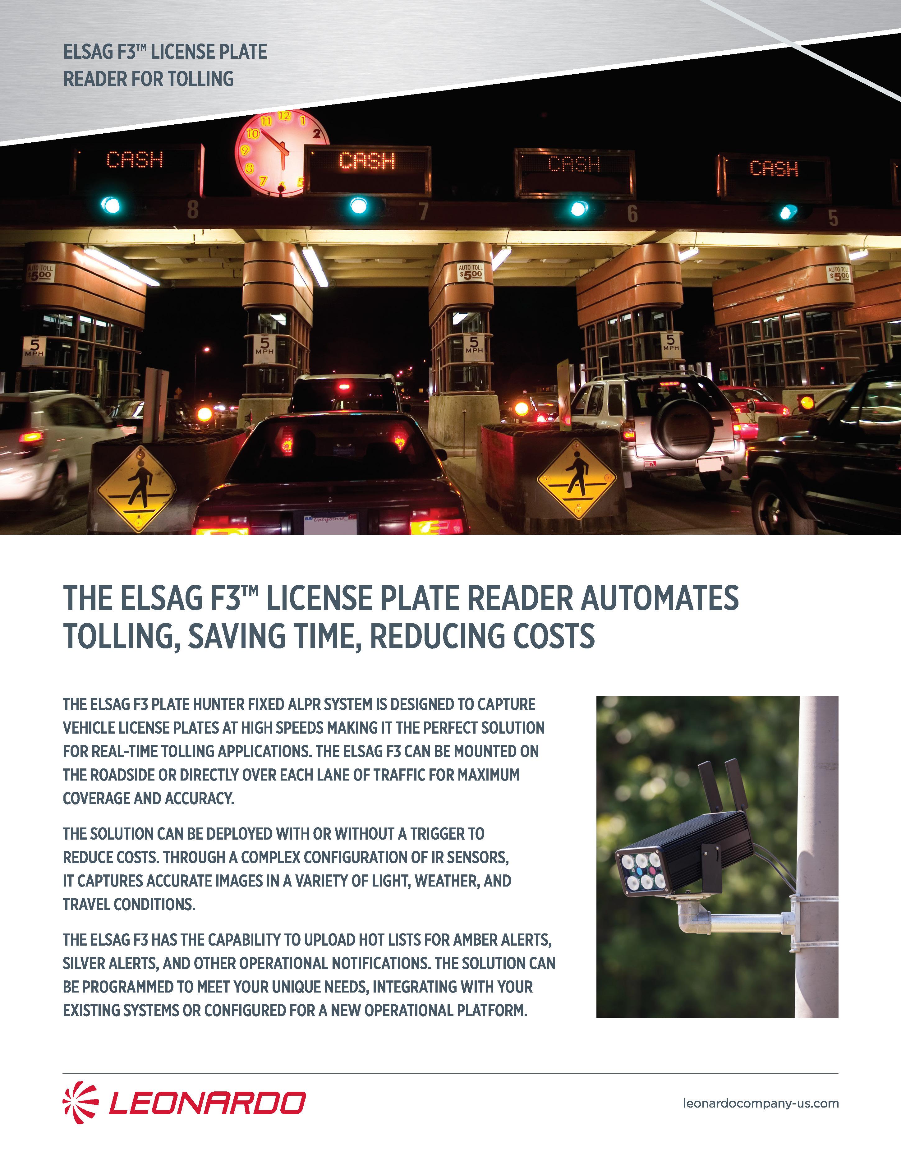 ELSAG plate hunter for tolling product sheet