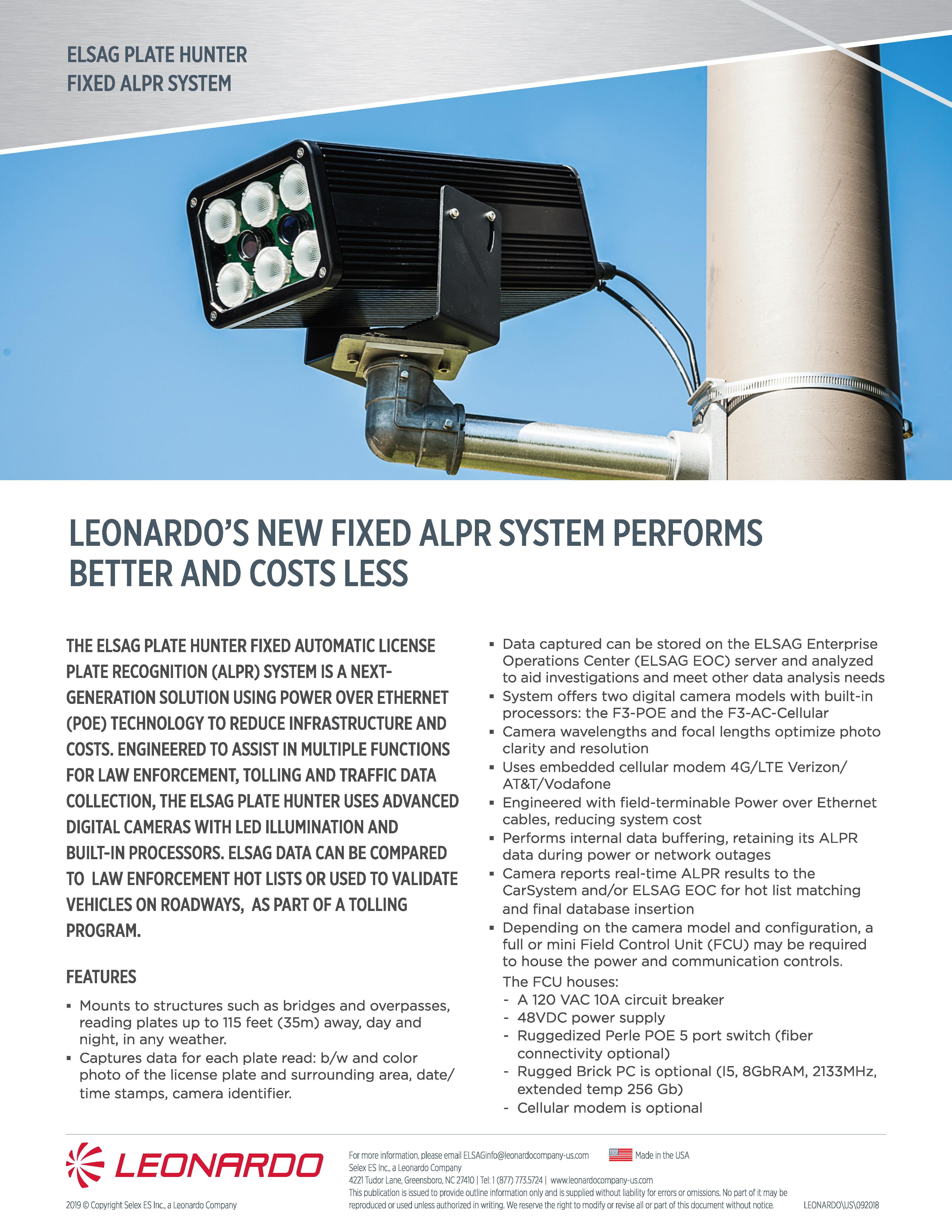 fixed ALPR product sheet