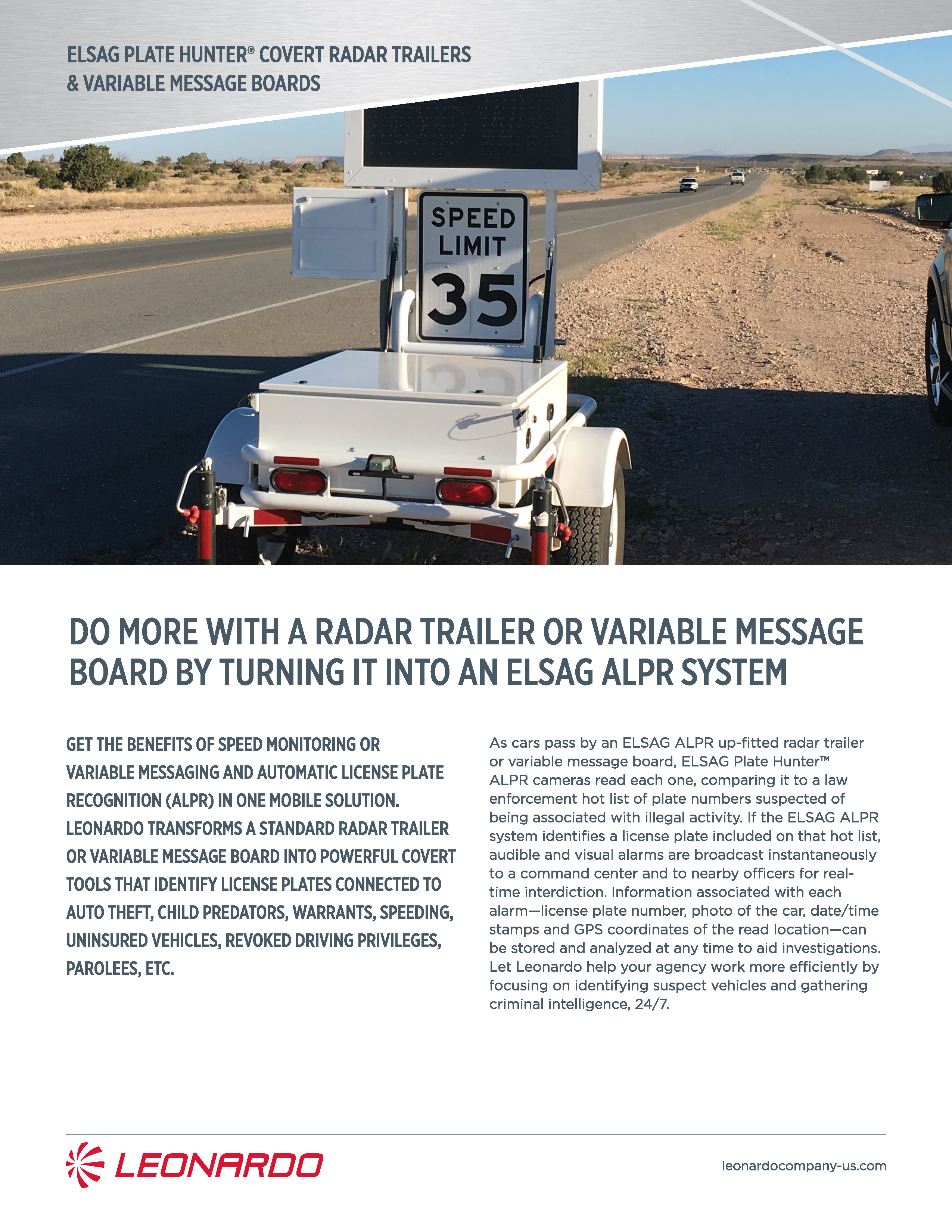 plate hunter radar trailer product sheet