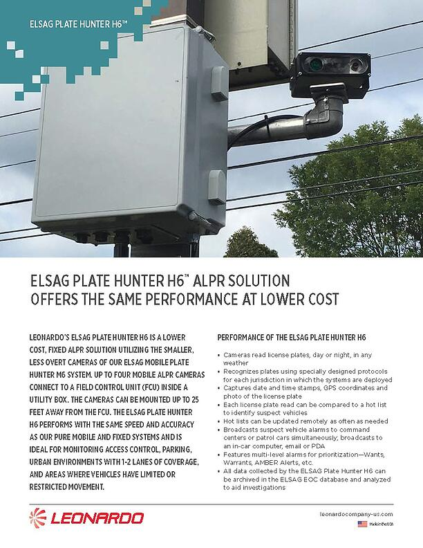 ELSAG Plate Hunter H6™ ALPR Solution Sell Sheet 2018